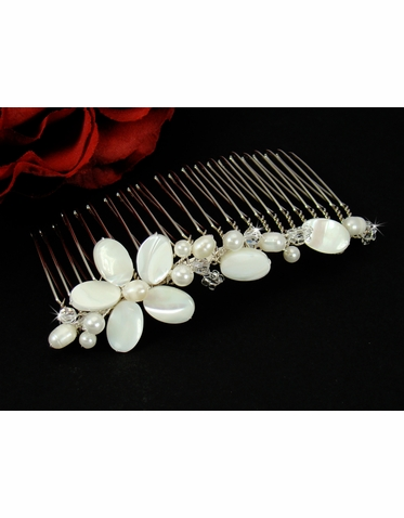Pearl and Shell Bridal Comb - Beach Wedding Hair Comb