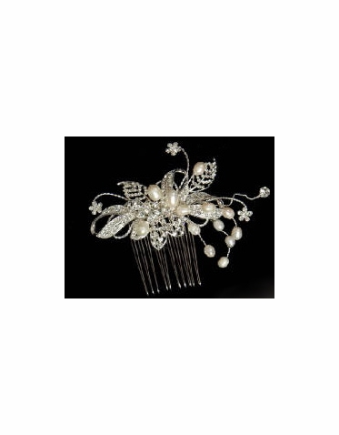 Hair Comb with Sparkle and Pearls 8064