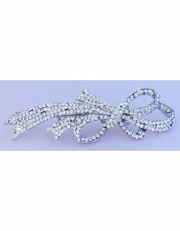 Cubic Zirconia Jewelry Collection Sparkling Bow Hair Clip
