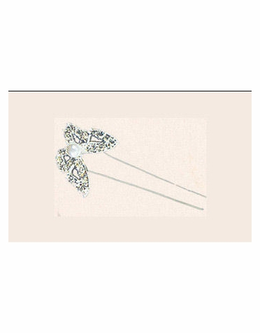 Rhinestone Butterfly Hair Pins - Set of 6