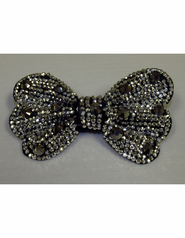 Black Bow Hairclip with Silver Crystals