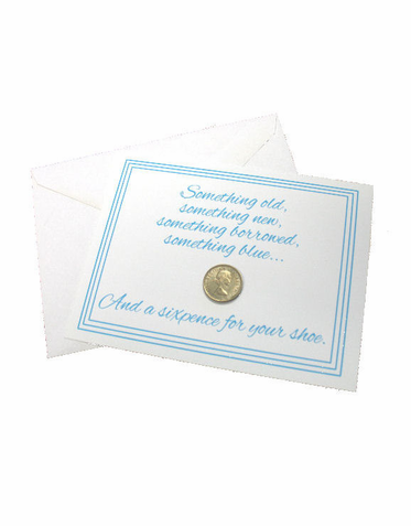 Bride's Lucky Sixpence and Poem Card - Contemporary