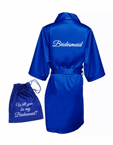 Printed Bridal Party Robes with Satin Garment Bag - Will you be my _____?