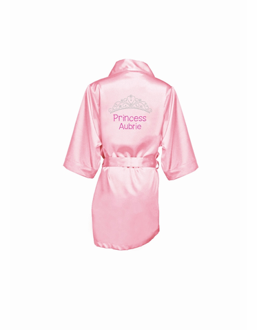 Personalized Princess Robe with Dazzling Rhinestone Embellishment