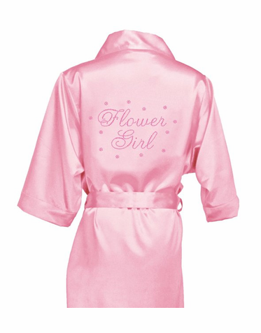 Rhinestone Flower Girl Satin Robe with Sparkling Crystal Flower Accents
