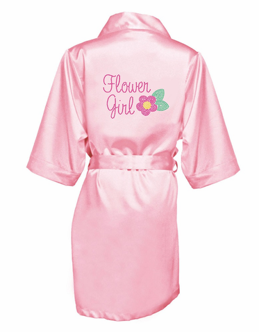 Rhinestone Bloom Flower Girl Satin Robe