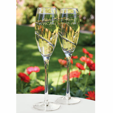 Wedding Toasting Glasses - Silver Swirl Flutes