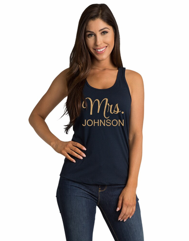 Personalized Mrs. T-Shirt with Glitter Print
