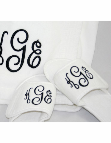 Embroidered Personalized Slippers with Monogram, Initial or Name