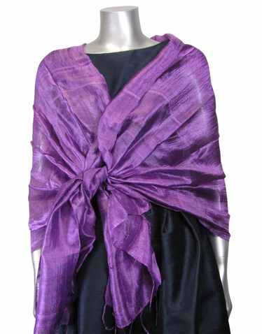 Silk Evening Shawl in Amethyst
