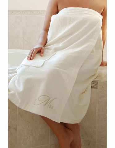 Mr. or Mrs. Bath Wrap in Ivory - Personalized Bath Wrap