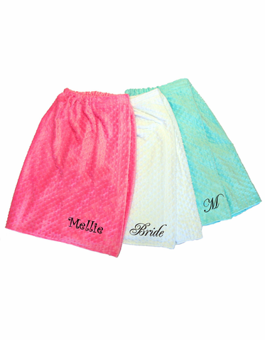 Minky Dot Personalized Spa Wrap - Personalized Bath Wrap