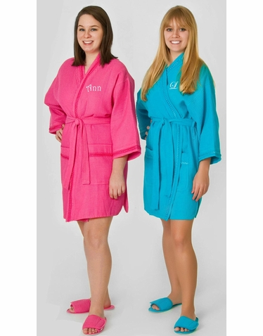 Personalized Waffle Weave Robe - Matching Slippers Available!