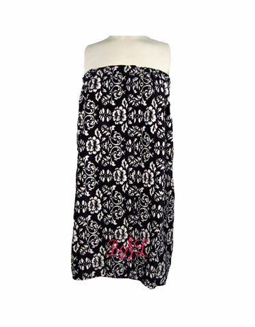 Monogrammed Damask Spa Wrap