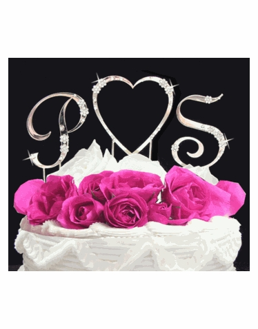 Crystal Heart Monogram Cake Topper Set