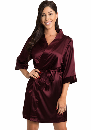 Burgundy Satin Kimono Bridesmaid Robe - Wine Satin Robe