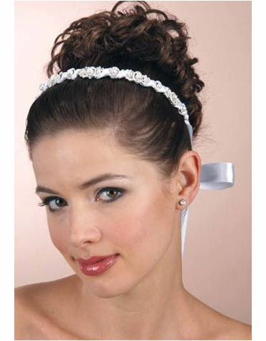 Pearl and Silver Headband with Ribbon Wrap