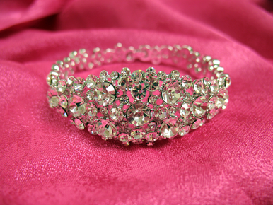 Bling! Silver Crystal Bridal Bracelet with Clasp