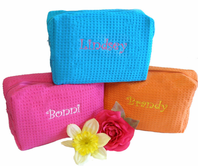 Embroidered Personalized Cosmetic Bag in Bright Colors!