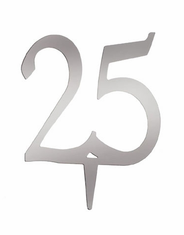 Number 25 Cake Topper - Silver Anniversary Cake Topper