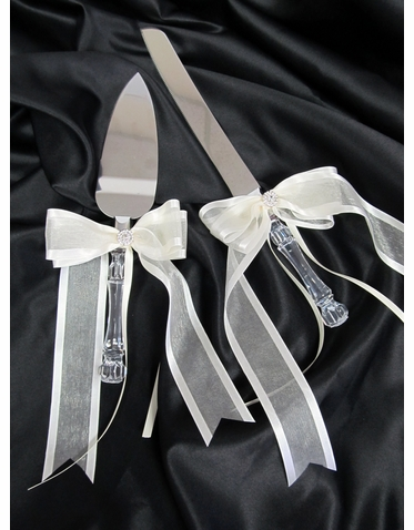 Wedding Cake Knife Set - Choose Your Ribbon Color