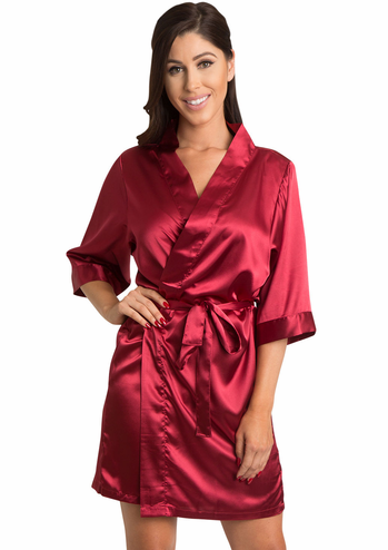 Crimson Red Satin Bridal Party Robe