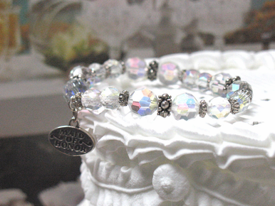 CLEARANCE: Iridescent Crystal Wedding Charm Bracelet - Bridesmaid and Maid of Honor Gift