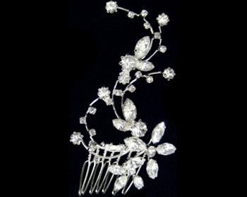 Rhinestone Flower Hair Comb-2327