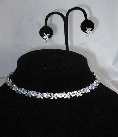 Silver and Clear Floral CZ Crystal Jewelry Set