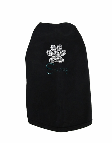 Custom Name Rhinestone Dog Shirt with Paw Print