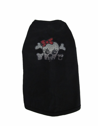 Custom Skull Rhinestone Dog T-Shirt