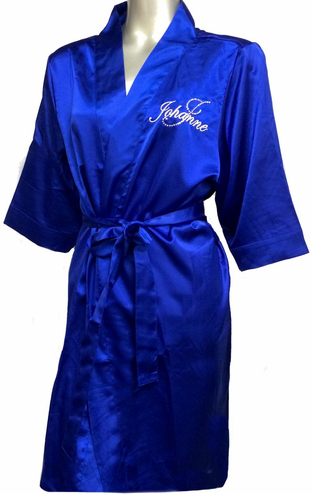 Embroidered Name Robe with Rhinestone Initial Satin Robe