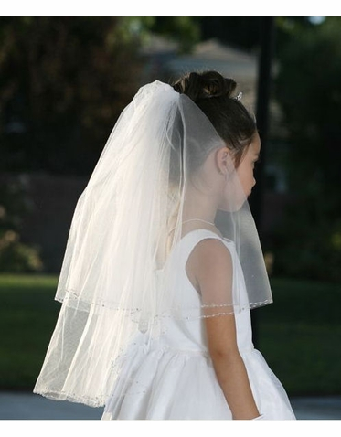 Communion Veil with Metallic Beads and Rhinestones 659