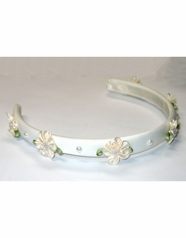 Satin Flower Girl Headband with Satin Beaded Posies and Pearls