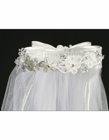 Girls First Communion Veil with Corded Flowers and Rhinestones