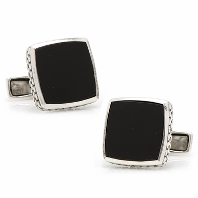 Sterling Silver Classic Scaled Onyx Cufflinks
