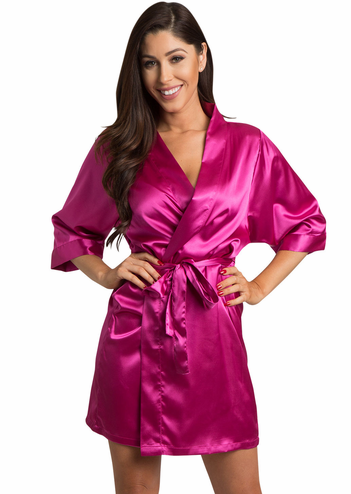 Fuchsia Satin Kimono Bridal Party Robe
