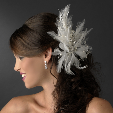 Incandescent Silver Clear Rhinestone & Ivory Feather Bridal Comb