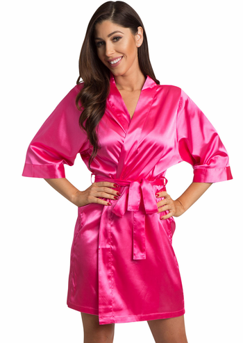 Hot Pink Satin Kimono Bridal Party Robe