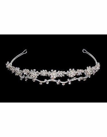 White and Silver Bridal Headband B9548M