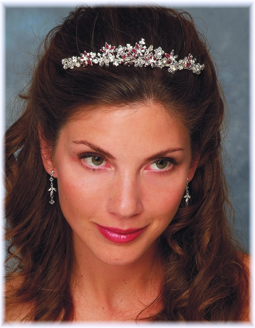 Rhinestone and Colored Flower Tiara 7236