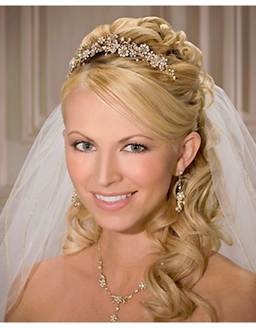 CLEARANCE: Bel Aire Bridal Tiara of Petite Flowers and Pearl Sprays - Last One!