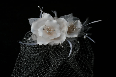 CLEARANCE: En Vogue Bridal Birdcage Veil with Pearl and Rhinestone Spray VF105