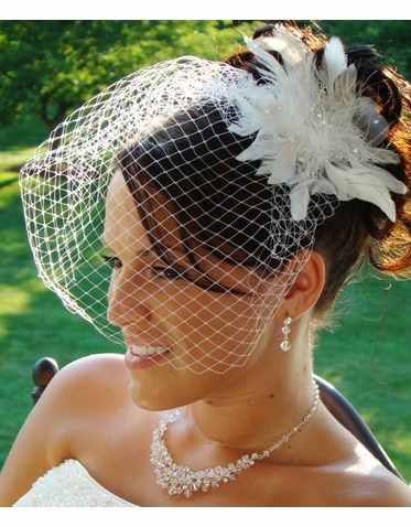 Feather Bridal Fascinator and Birdcage Veil