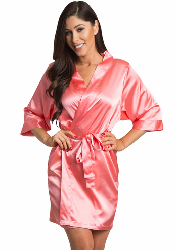 Coral Satin Kimono Bridal Party Robe