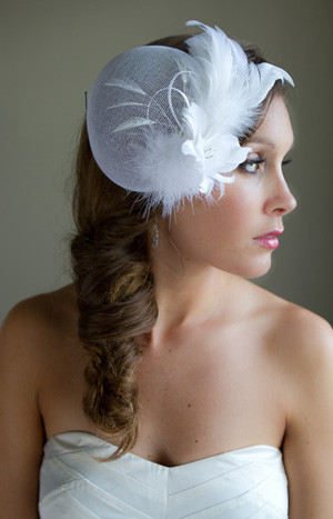 June Bridal Hat with Fascinator and French Netting