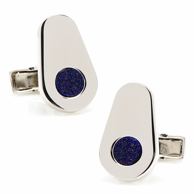 Sterling Silver Elliptic Cufflinks With Blue Goldstone Inlay