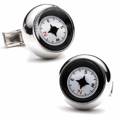 Sterling Silver Working Compass CuffLInks