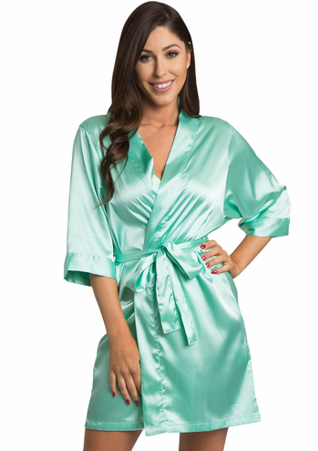 Mint Satin Kimono Bridal Party Robe
