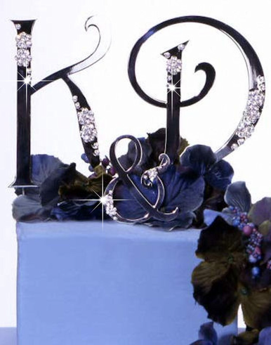 His and Hers Swarovski Crystal Cake Initials with Small Ampersand